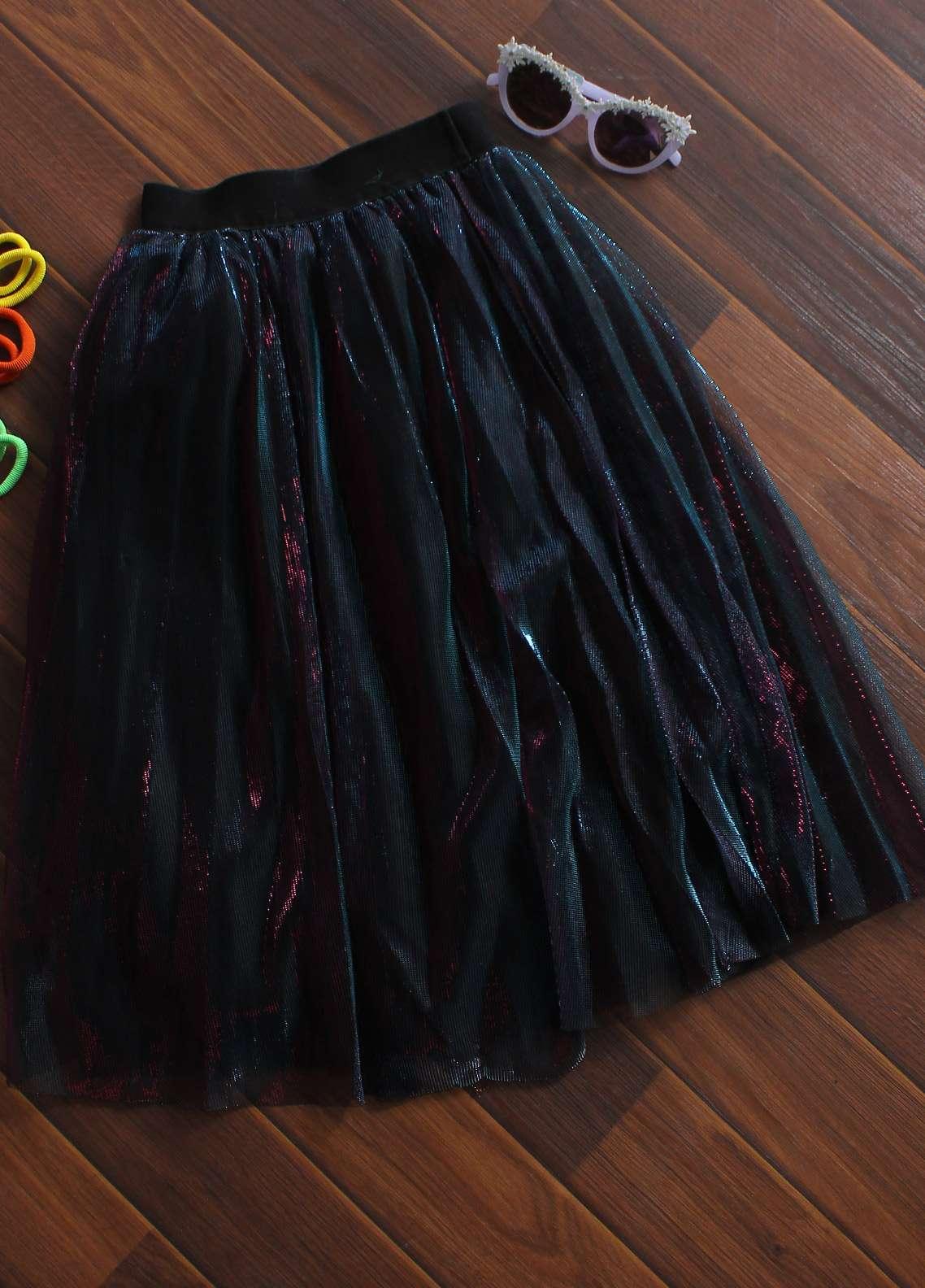 Sanaulla Exclusive Range Cotton Net Fancy Girls Skirts -  8098 Blue