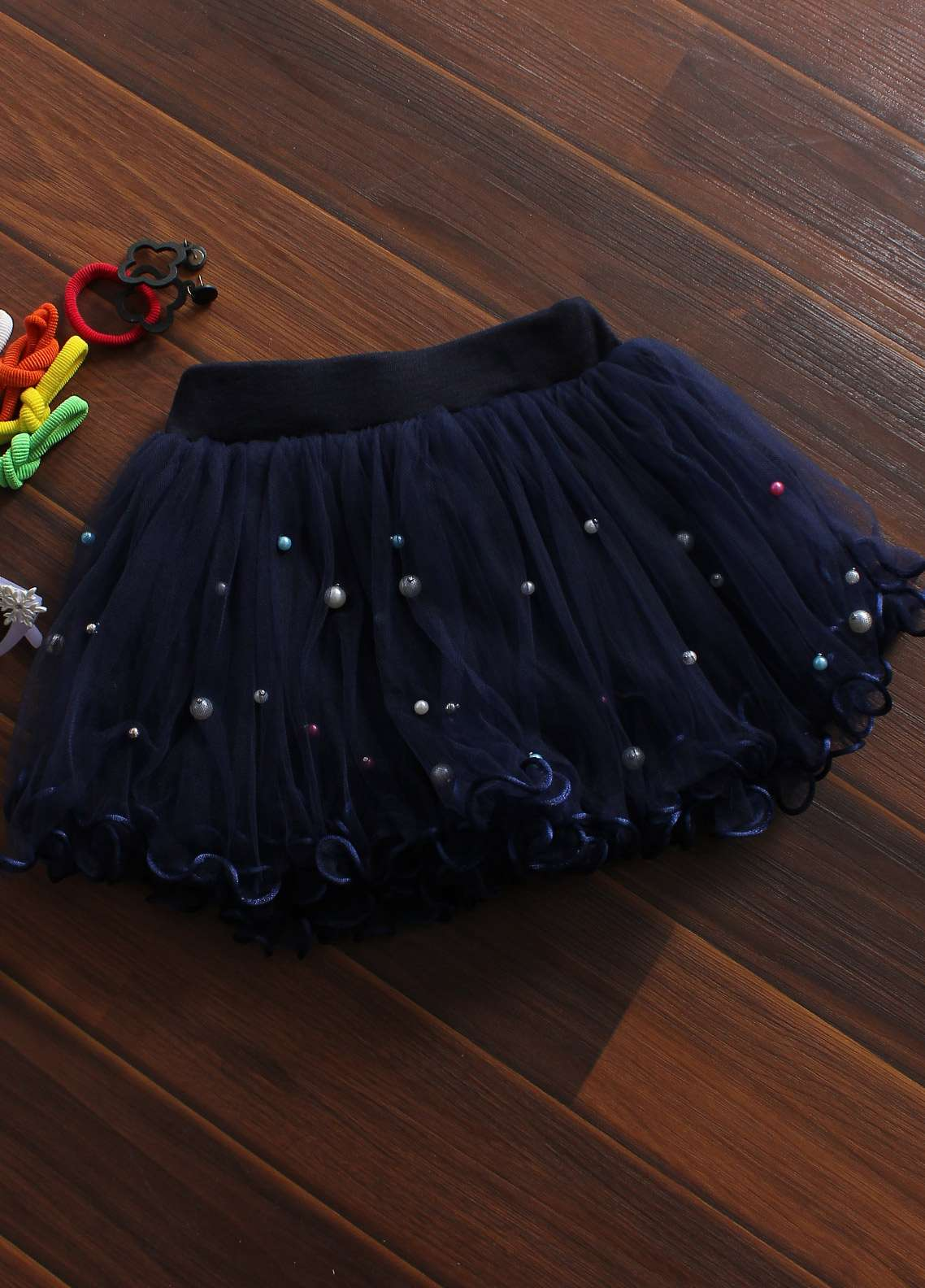 Sanaulla Exclusive Range Cotton Net Fancy Girls Skirts -  8715 Navy Blue