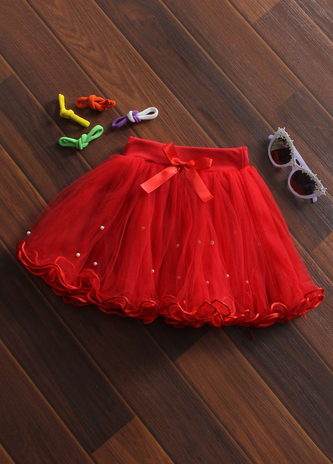 Sanaulla Exclusive Range Cotton Net Fancy Skirts for Girls -  8715 Red