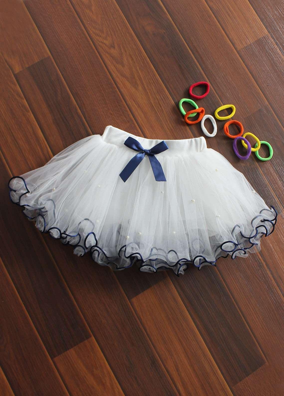 Sanaulla Exclusive Range Cotton Net Fancy Girls Skirts -  8715 White