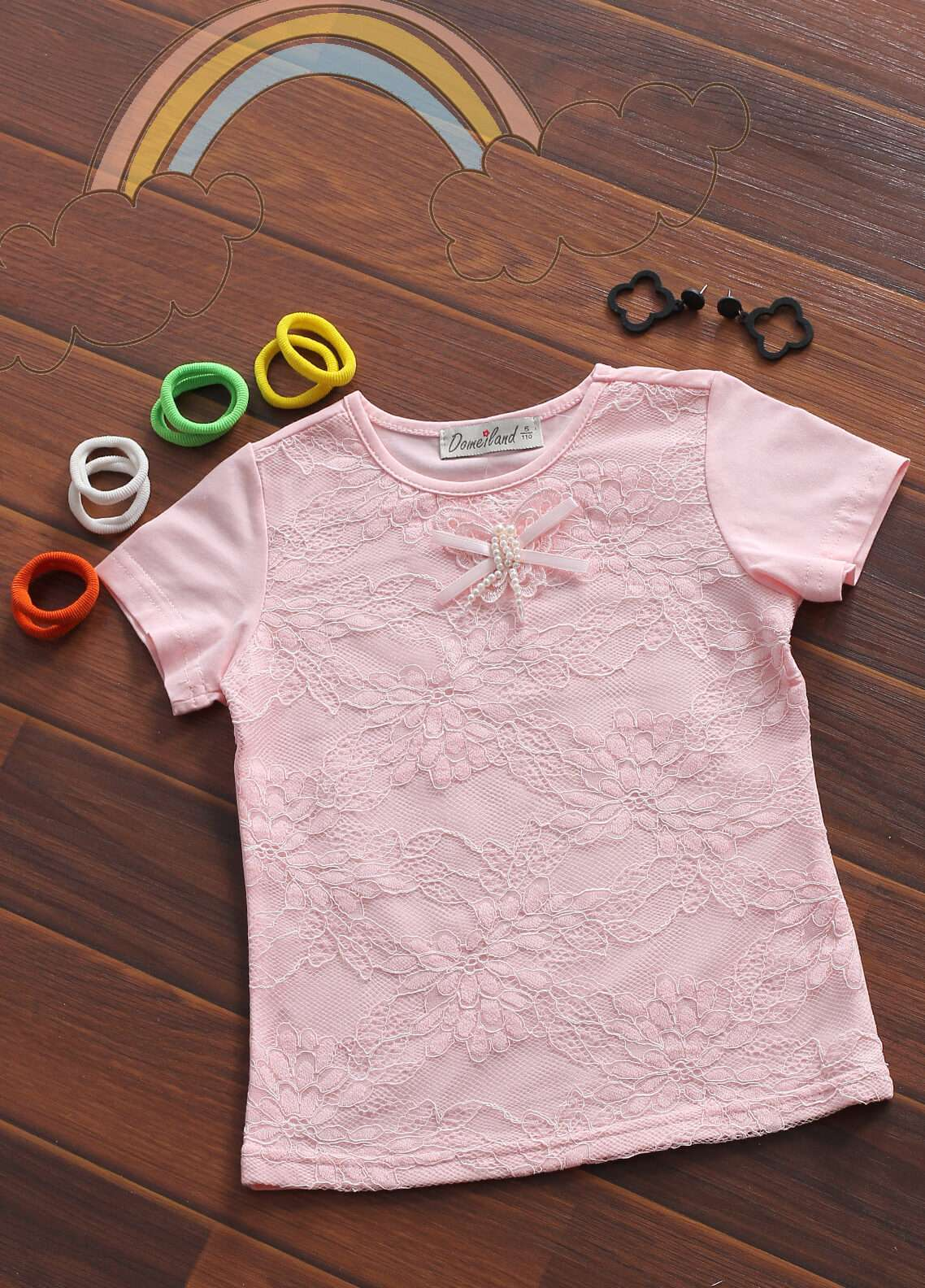 Sanaulla Exclusive Range Cotton Fancy Girls Tees -  802580 Pink
