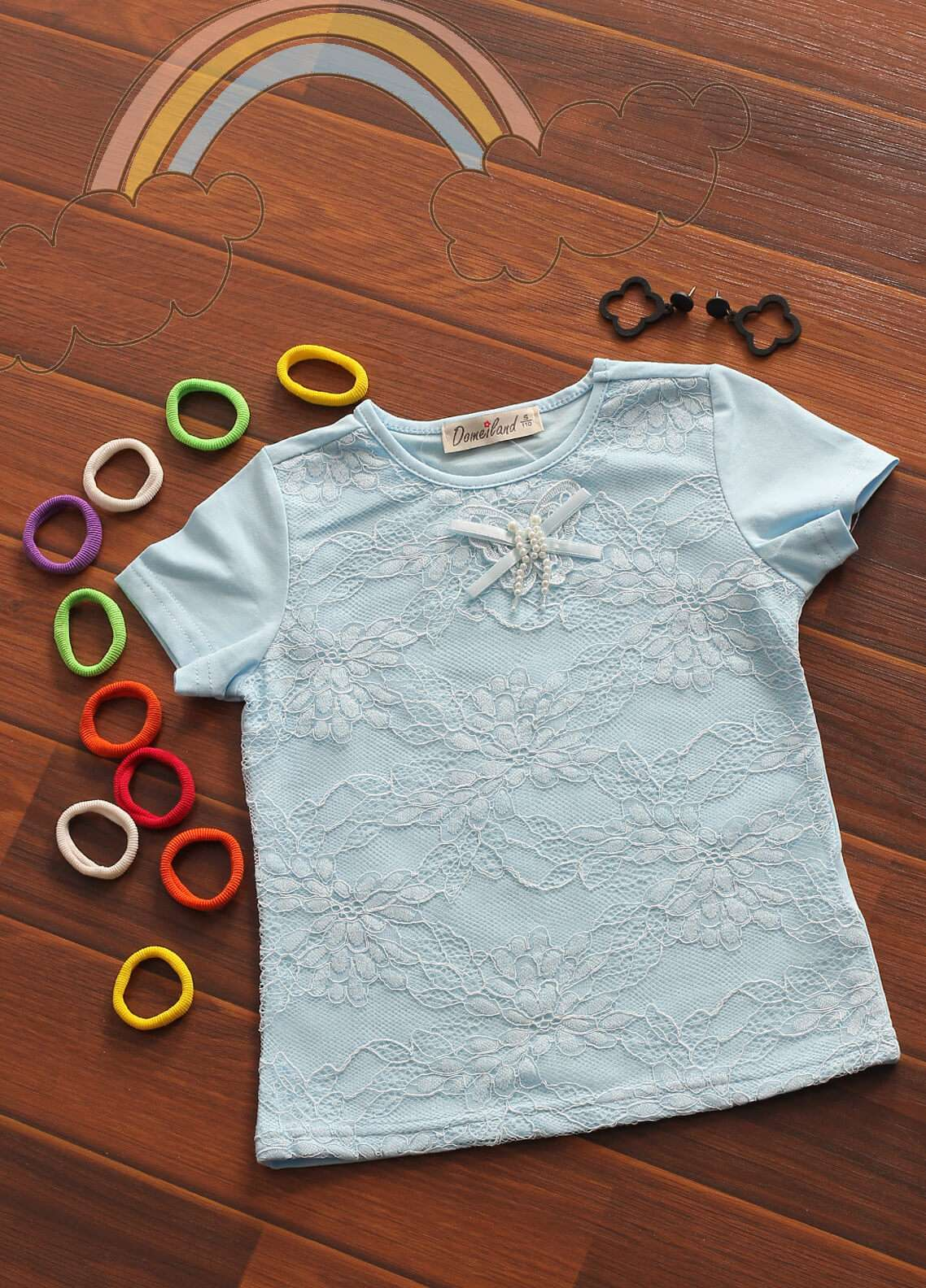 Sanaulla Exclusive Range Cotton Fancy Tees for Girls -  802580 Sky Blue