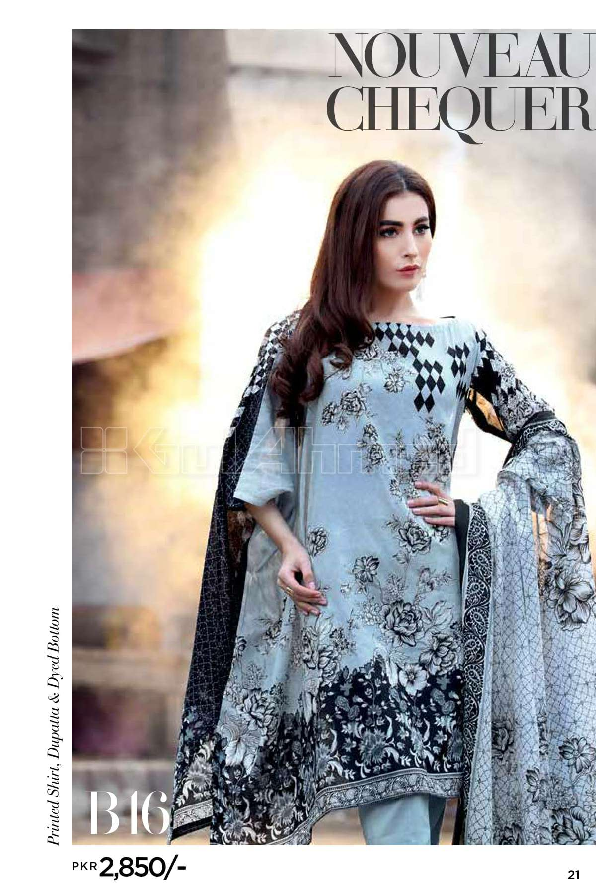Gul Ahmed Printed Lawn Unstitched 3 Piece Suit GL17B 16
