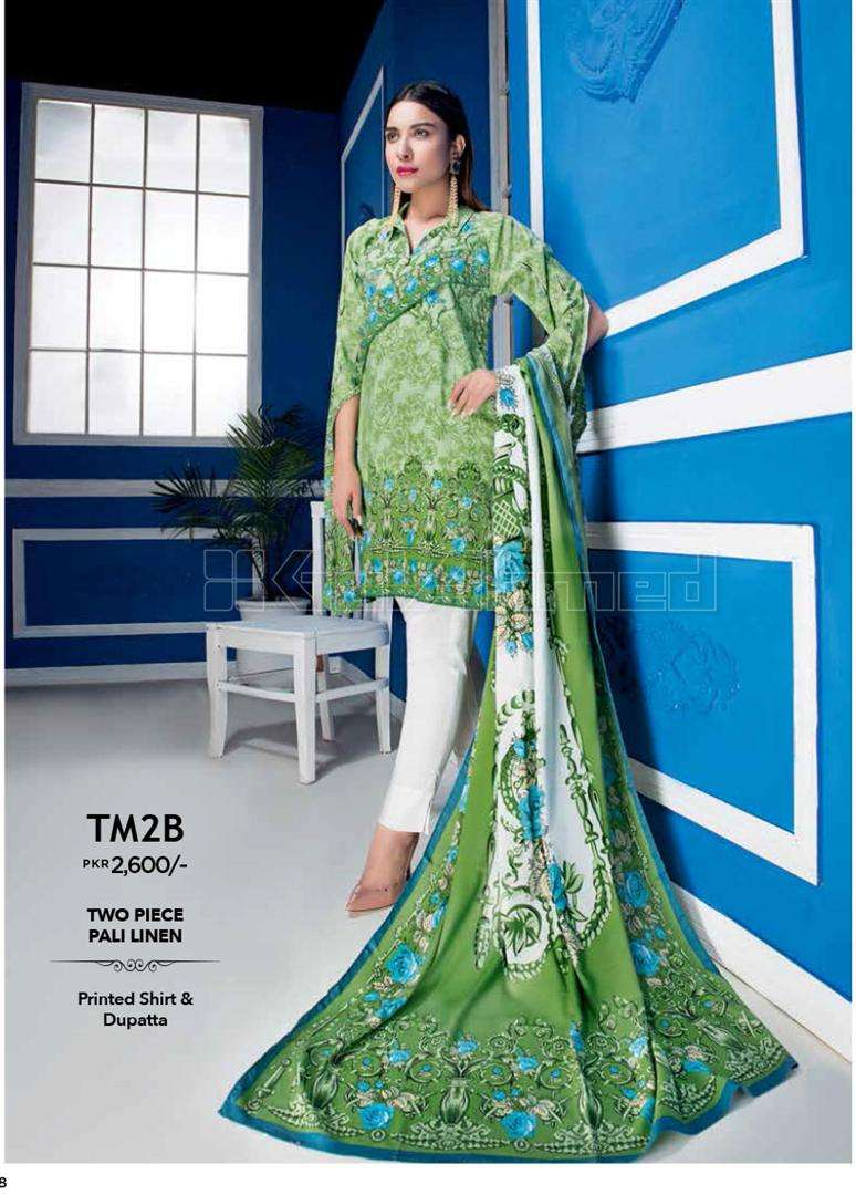 Gul Ahmed Printed Linen Unstitched 2 Piece Suit GL17W TM2B