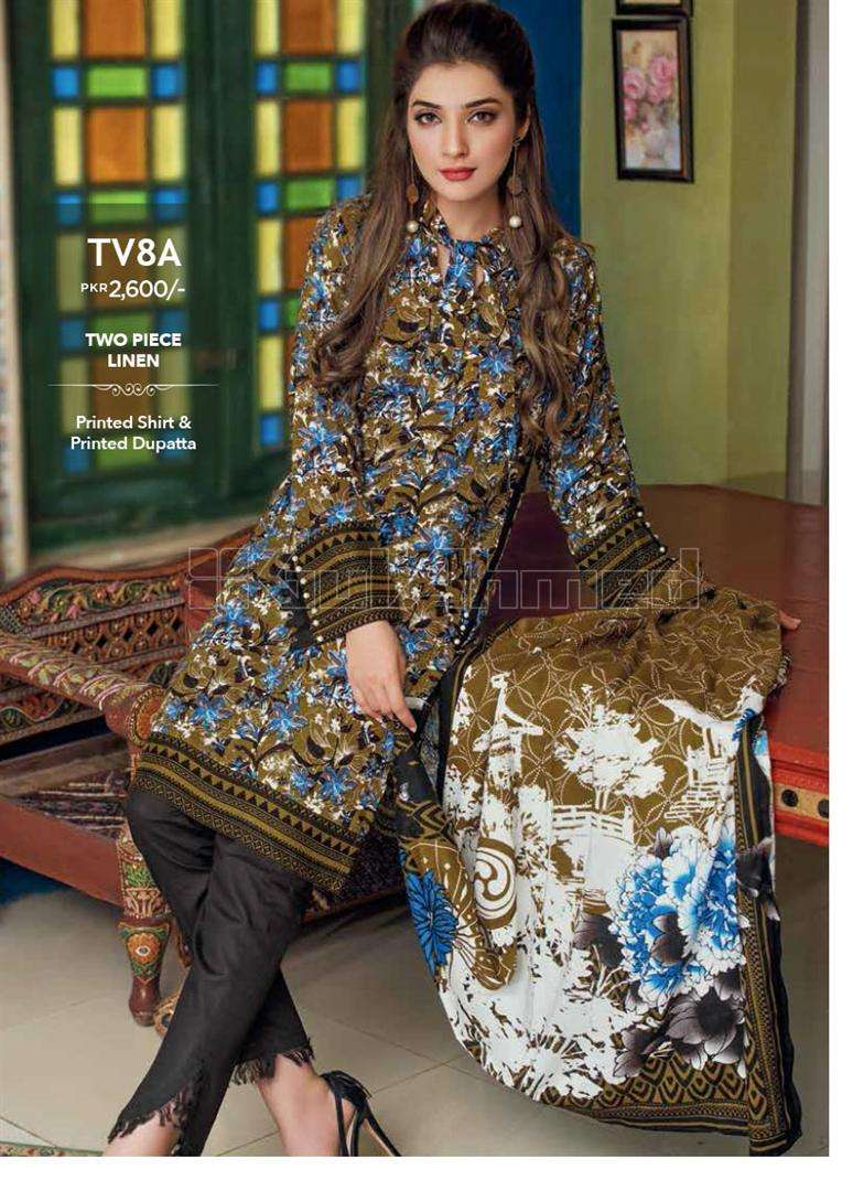 Gul Ahmed Embroidered Linen Unstitched 2 Piece Suit GL17W TV8A