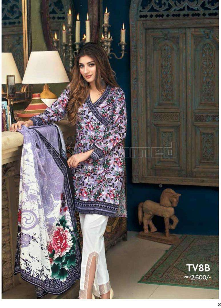 Gul Ahmed Embroidered Linen Unstitched 2 Piece Suit GL17W TV8B