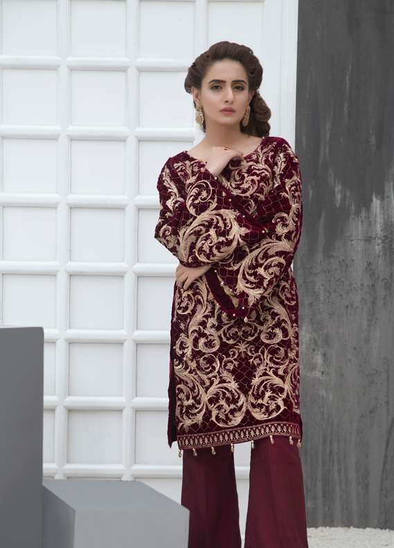 Anahi by Gulaal Embroidered Velvet Stitched Kurtis GLP17K VS04 Maroon