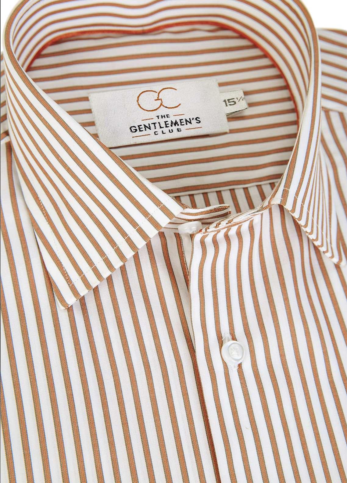 The Gentlemen's Club Cotton White Label Men Formal Shirts - Brown GM18FS  4017