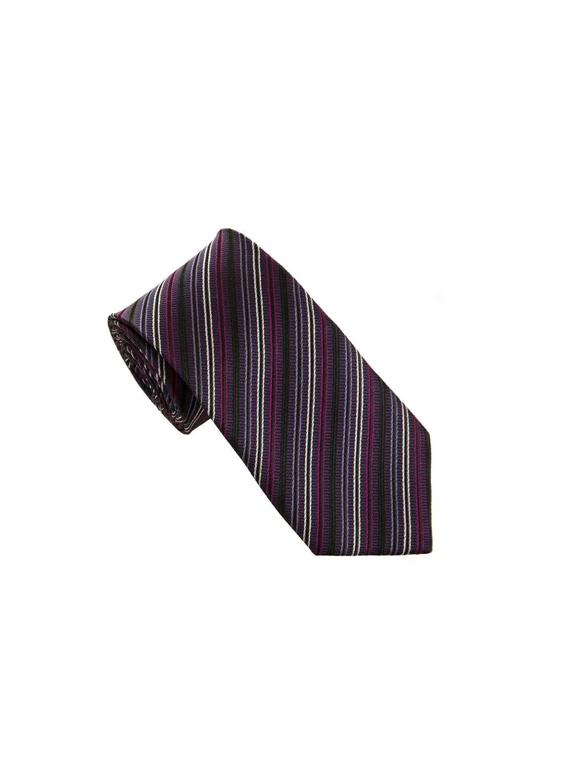 The Gentlemen's Club Purple Striped Silk Men's Ties