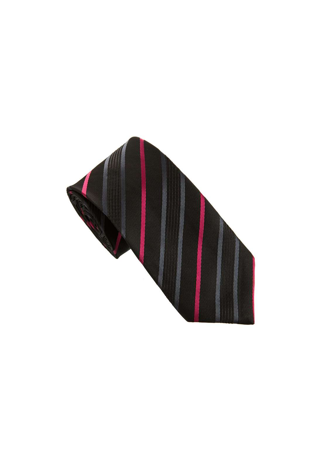 The Gentlemen's Club Black Striped Silk Tie for Men