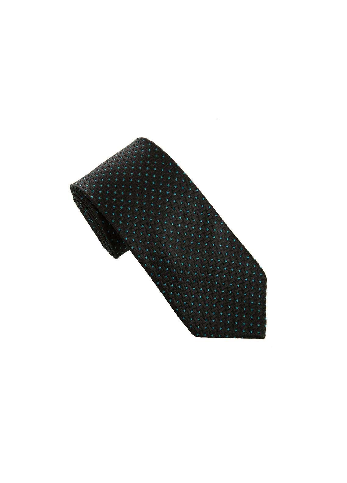 The Gentlemen's Club Black Polka Dotted Silk Tie for Men