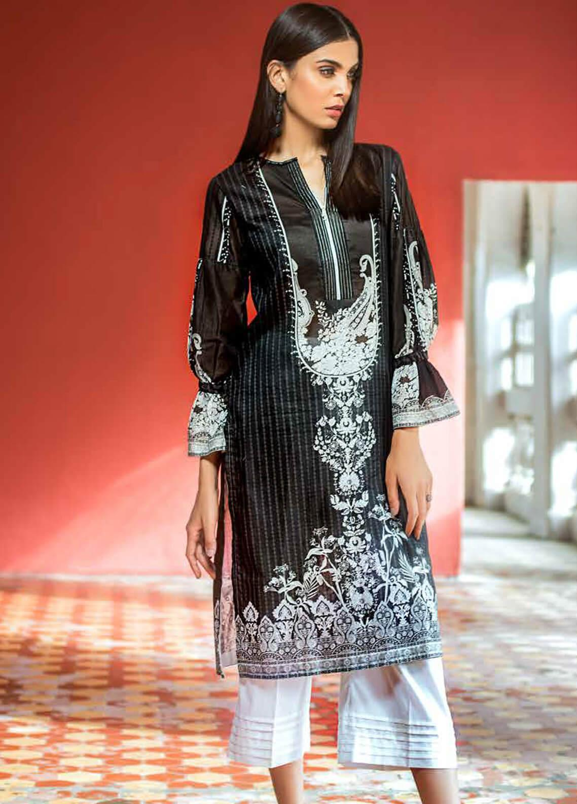 Gul Ahmed Printed Cotton Unstitched Kurties GA19BW SB-14 - Black & White Collection