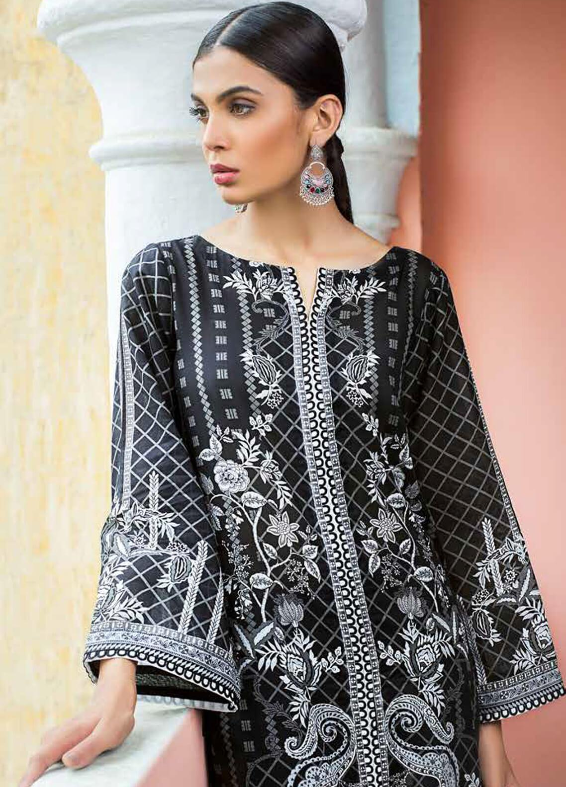 Gul Ahmed Printed Cotton Unstitched Kurties GA19BW SB-15 - Black & White Collection