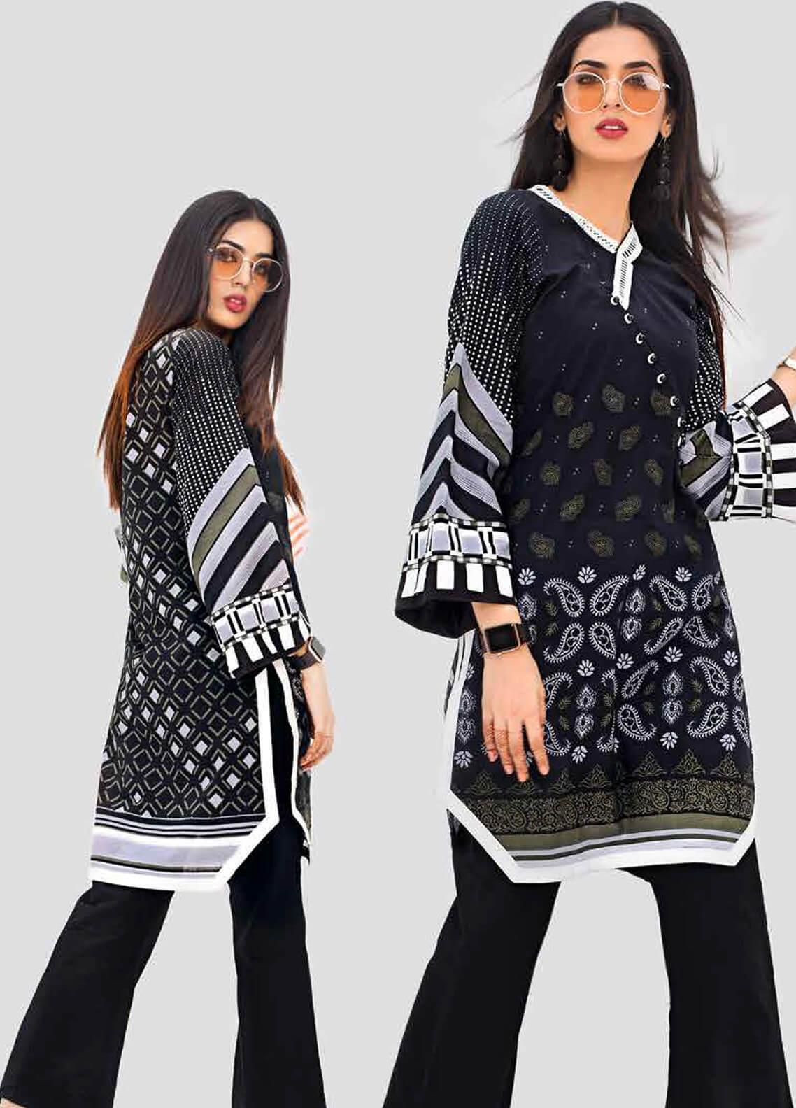 Gul Ahmed Printed Cotton Unstitched Kurties GA19BW SB-16 - Black & White Collection