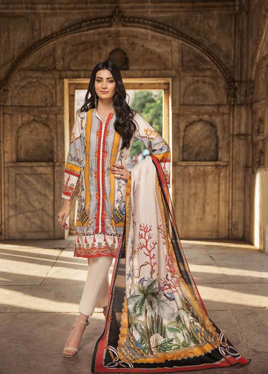 Gul Ahmed Printed Cambric Unstitched 3 Piece Suit GA19CF CBN-101 B - Mid Summer Collection