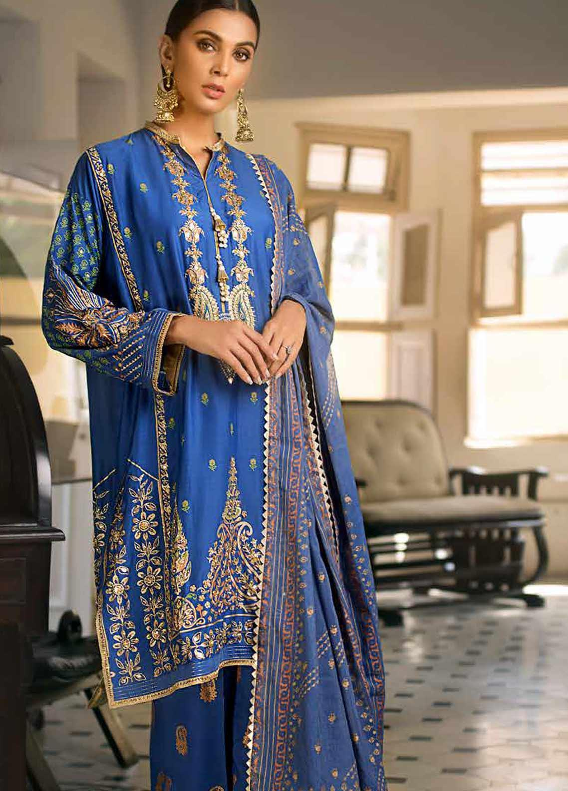 Gul Ahmed Embroidered Cotton Silk Unstitched 3 Piece Suit GAF19CS EA-96 - Festive Collection