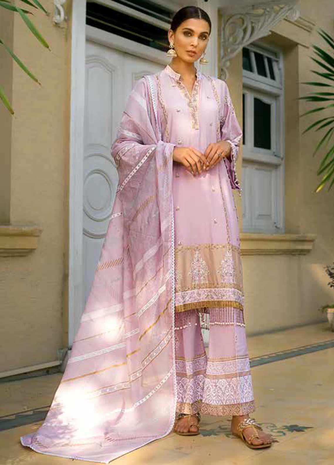 Gul Ahmed Embroidered Cotton Silk Unstitched 3 Piece Suit GAF19CS EA-99 - Festive Collection