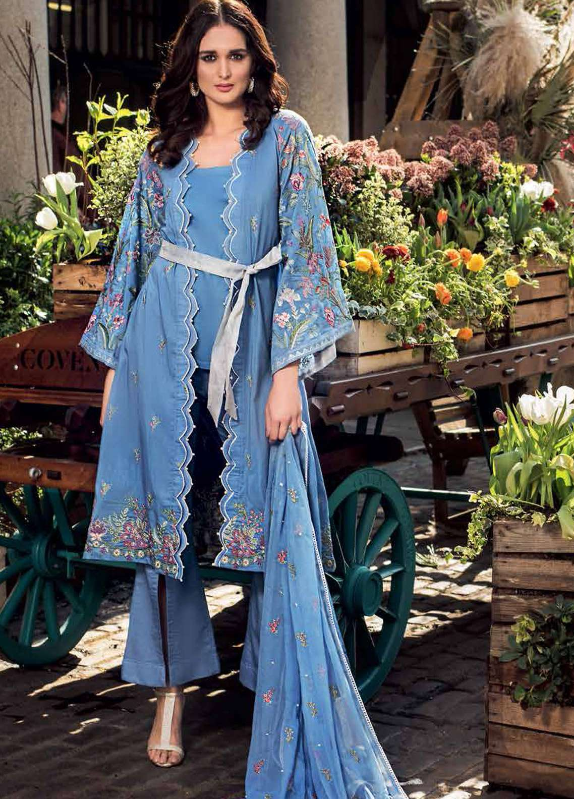 Gul Ahmed Embroidered Cotton Silk Unstitched 3 Piece Suit GA19E FE-176 - Eid Collection