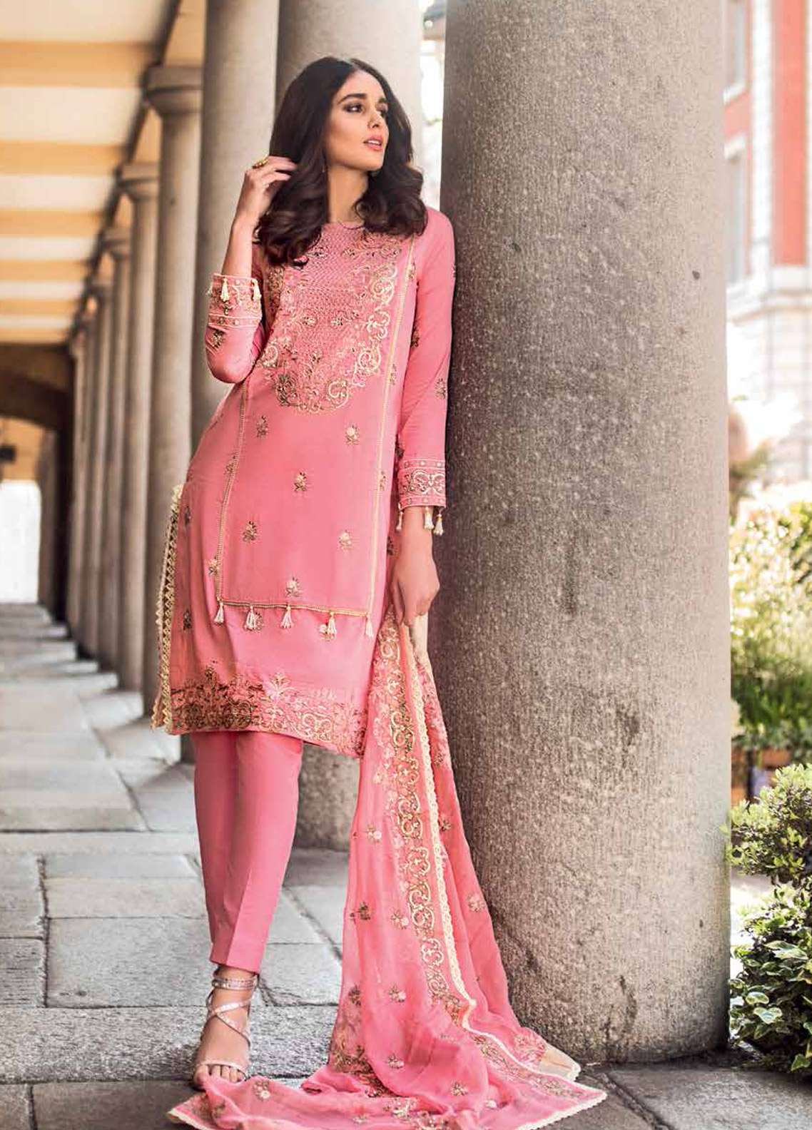 Gul Ahmed Embroidered Cotton Silk Unstitched 3 Piece Suit GA19E FE-177 - Eid Collection