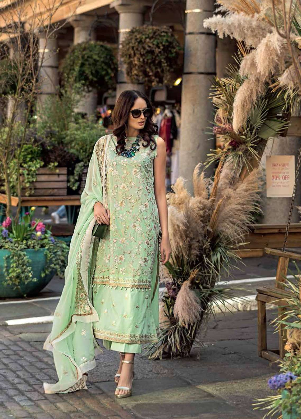 Gul Ahmed Embroidered Cotton Silk Unstitched 3 Piece Suit GA19E FE-178 - Eid Collection