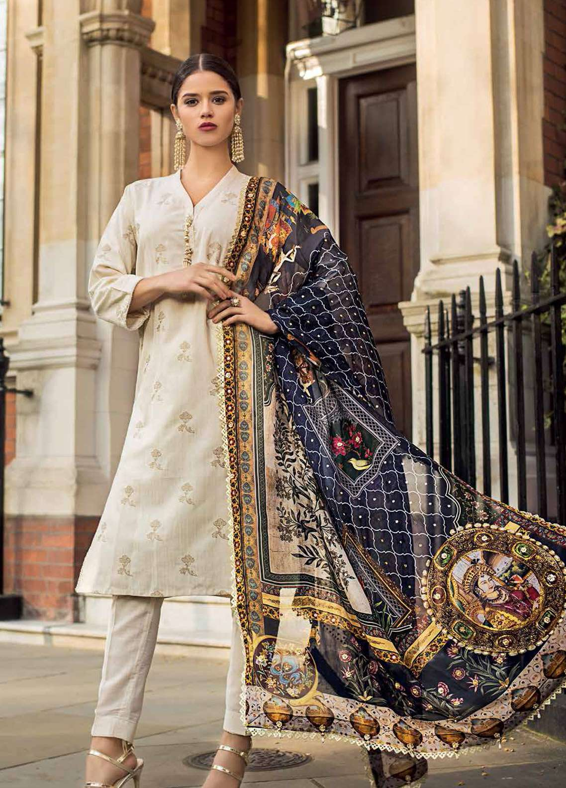 Gul Ahmed Embroidered Viscose Unstitched 3 Piece Suit GA19E FE-203 - Eid Collection
