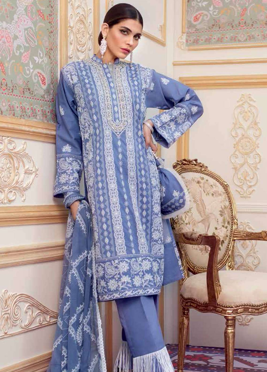 Gul Ahmed Embroidered Chikankari Unstitched 3 Piece Suit GA19E FE-204 - Eid Collection