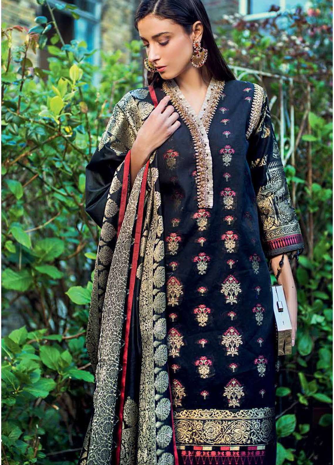 7ebcc941ba Gul Ahmed Embroidered Jacquard Unstitched 3 Piece Suit GA19E FE-220 - Eid  Collection