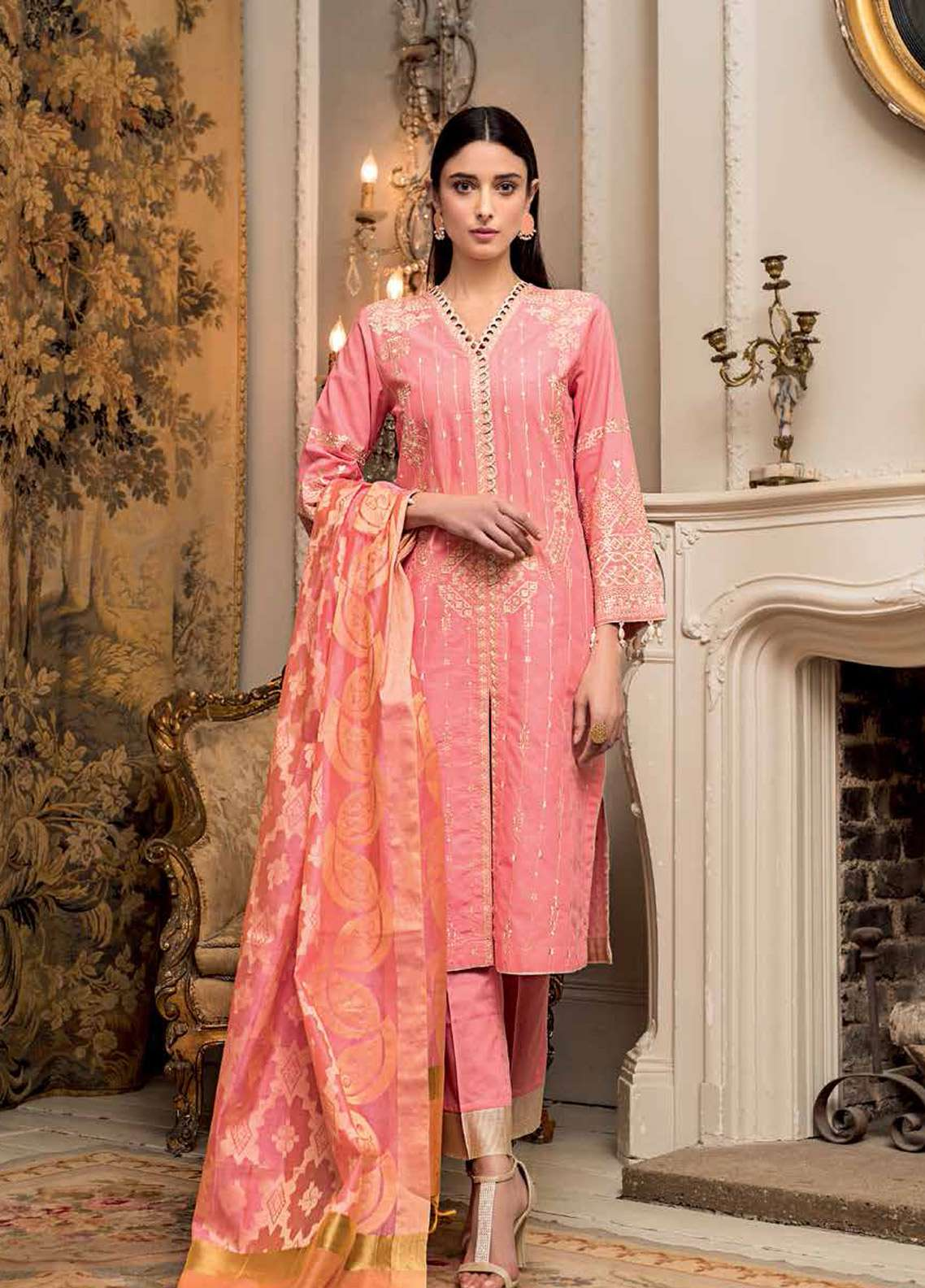 46eac3babf Gul Ahmed Embroidered Jacquard Unstitched 3 Piece Suit GA19E FE-221 - Eid  Collection