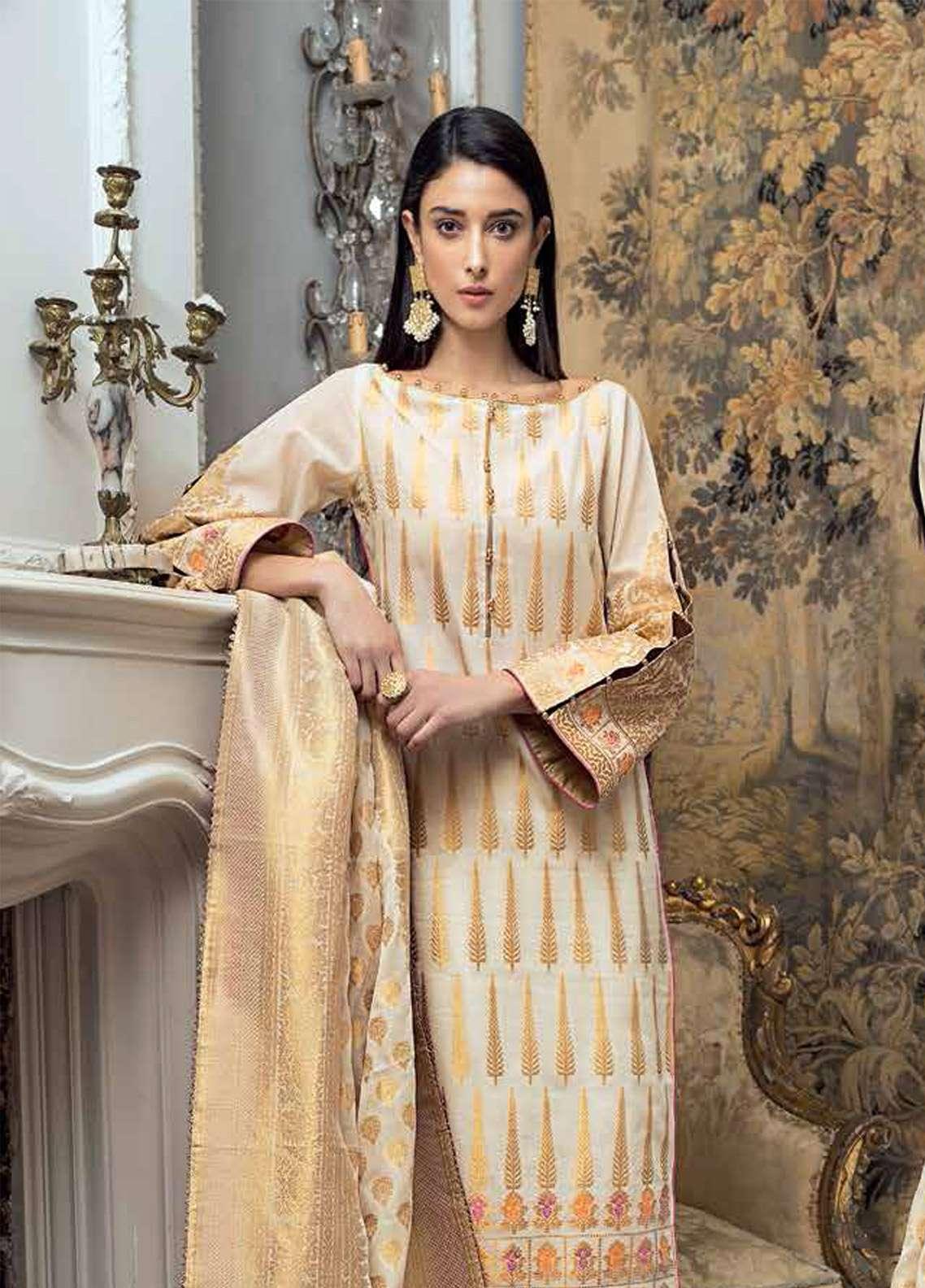 da4975284e Gul Ahmed Embroidered Jacquard Unstitched 3 Piece Suit GA19E FE-223 - Eid  Collection