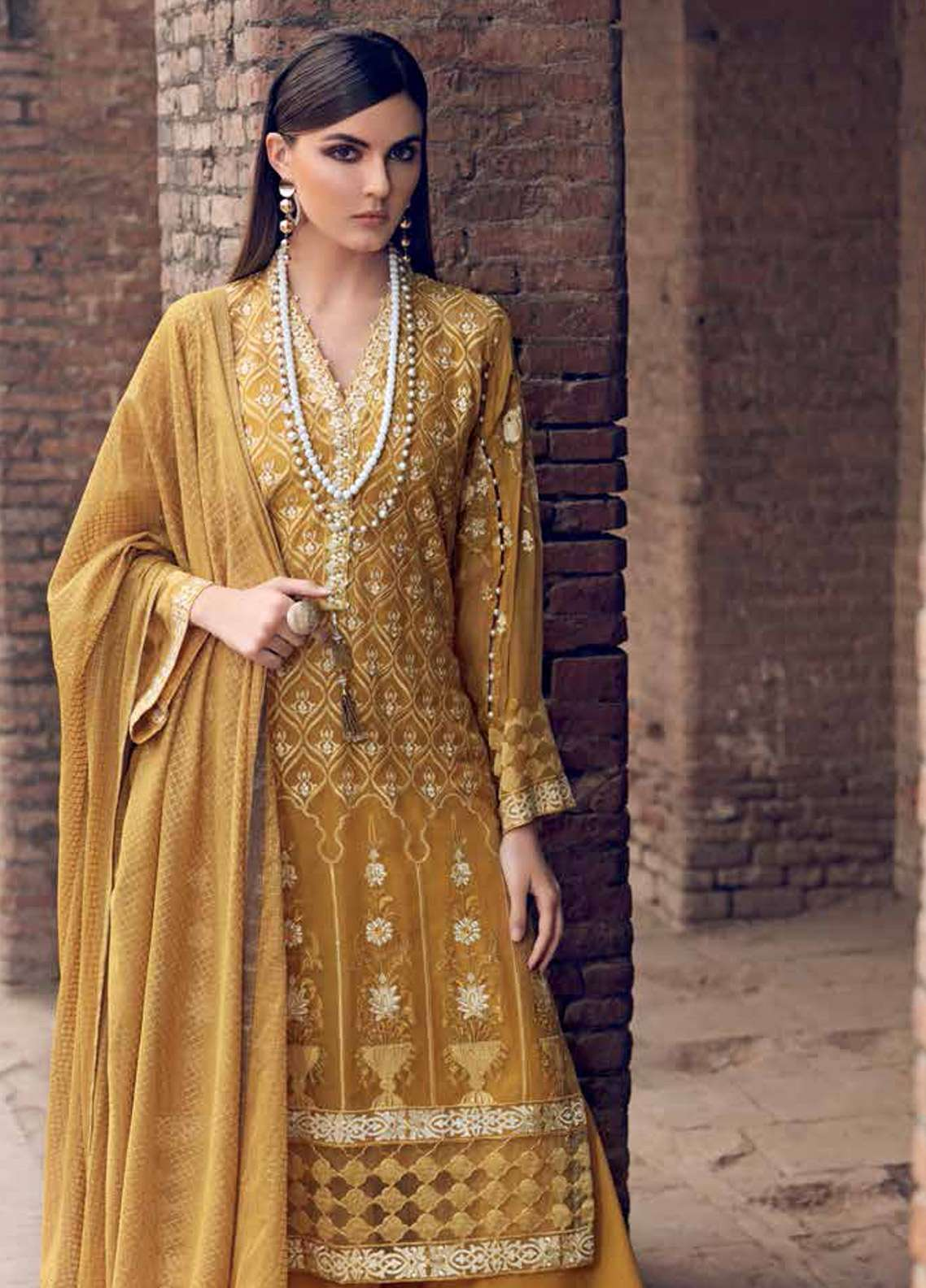 f33a030a42 Gul Ahmed Embroidered Lawn Unstitched 3 Piece Suit GA19E FE-253 - Eid  Collection
