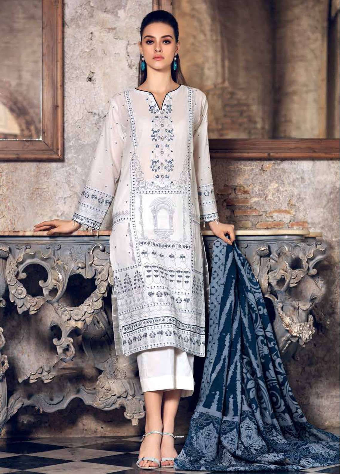 e07679b6b3 Gul Ahmed Embroidered Lawn Unstitched 3 Piece Suit GA19E FE-259 - Eid  Collection