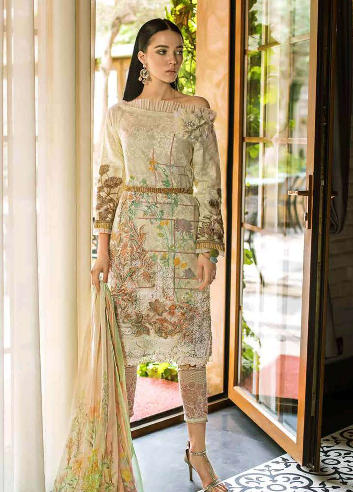 db6ee05c80 Gul Ahmed Embroidered Organza Unstitched 3 Piece Suit GA19FB PS-02 Laced  Love - Formal Collection