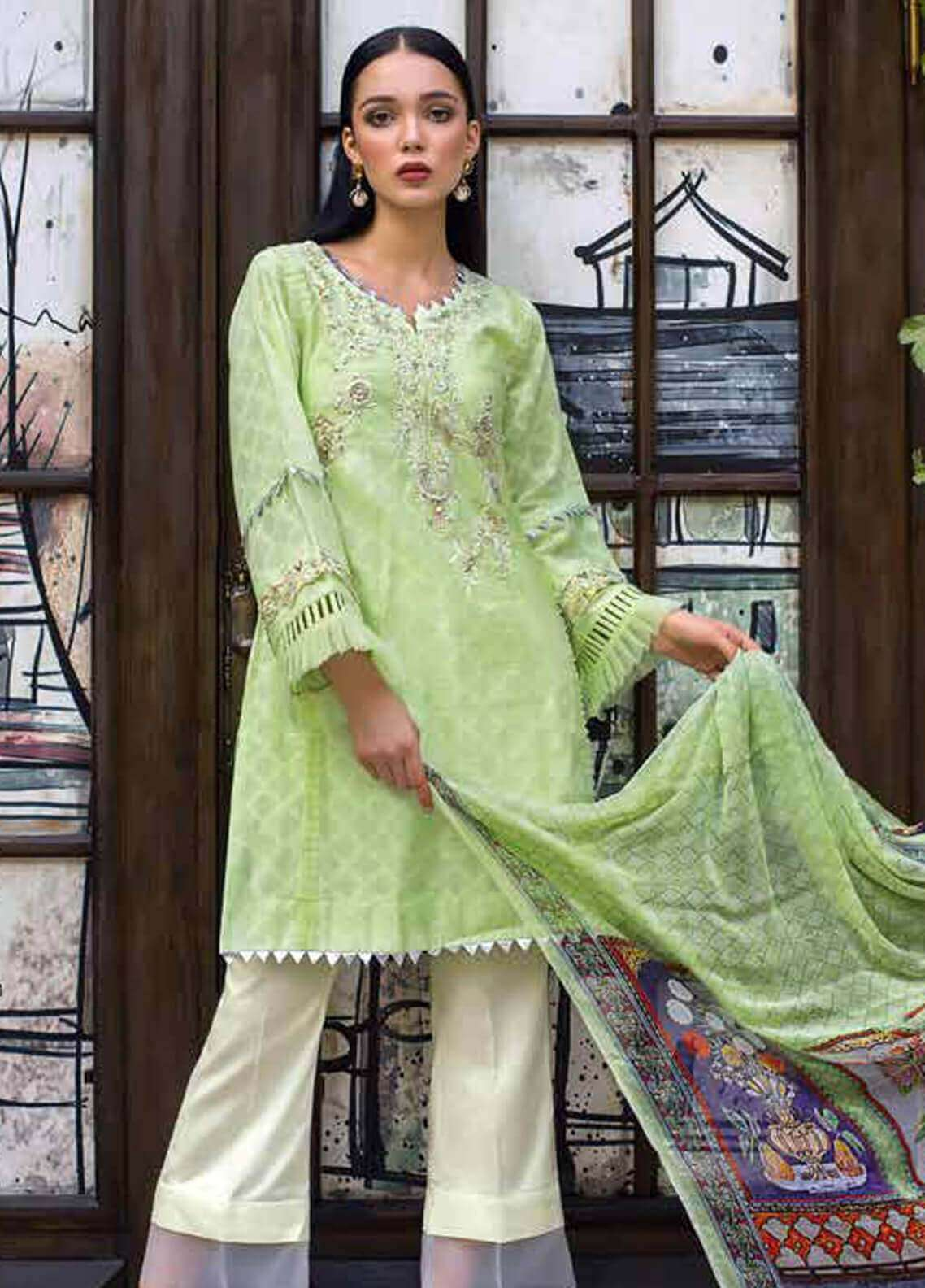 db105d8e8e Gul Ahmed Embroidered Cotton Unstitched 3 Piece Suit GA19FB PS-05 Spaded  Jade - Formal