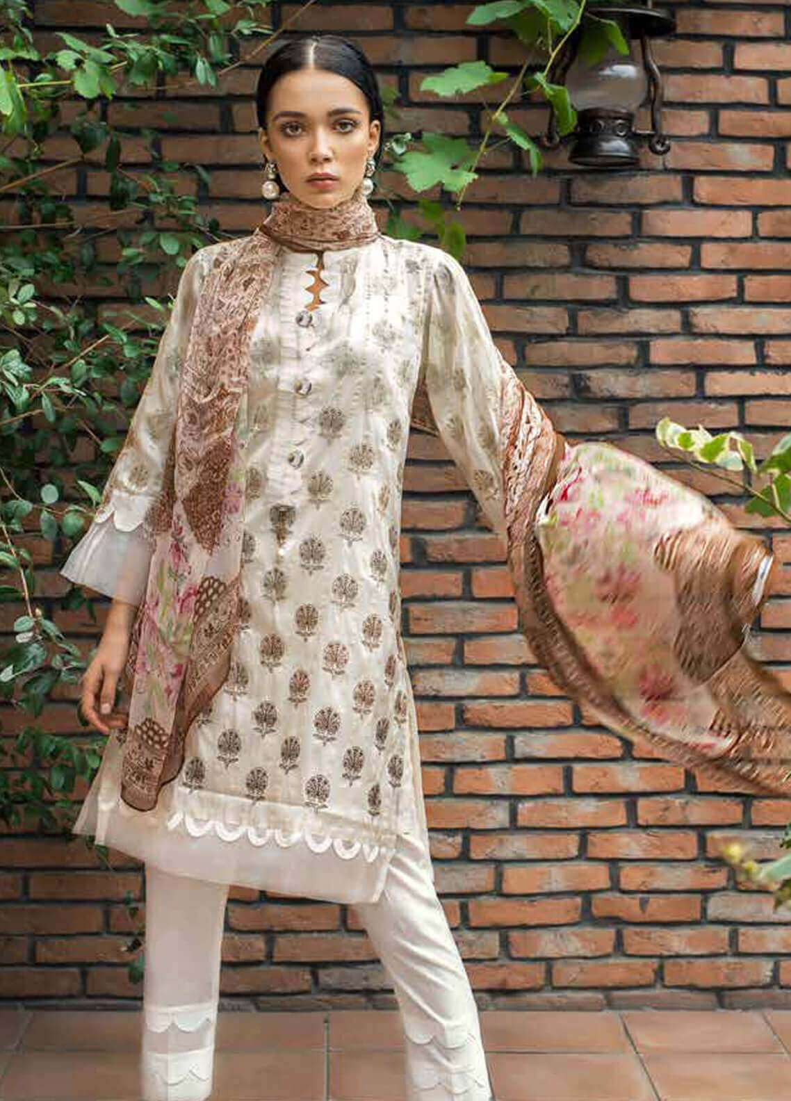 Gul Ahmed Embroidered Karandi Unstitched 3 Piece Suit GA19FB PS-06 Silken Pearl - Formal Collection