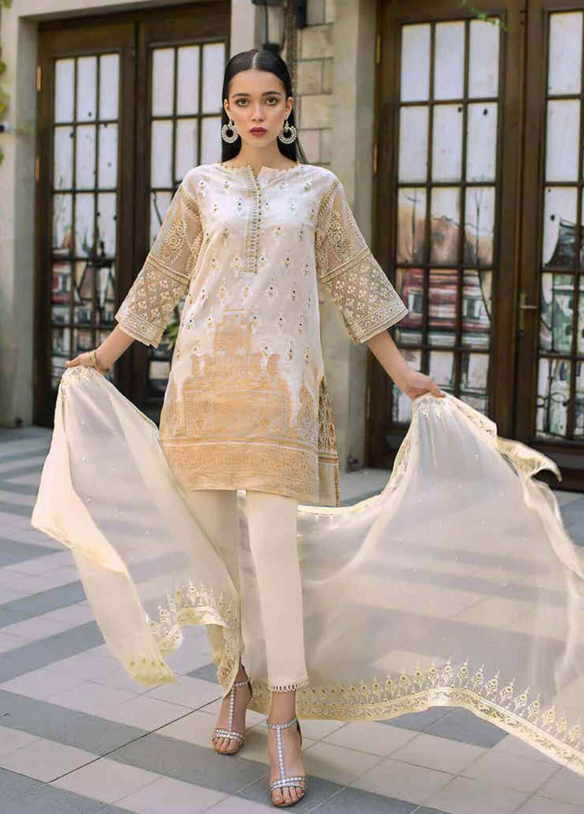 455ad21f11 Gul Ahmed Embroidered Cotton Unstitched 3 Piece Suit GA19FB PS-08 Woven  Caramel - Formal