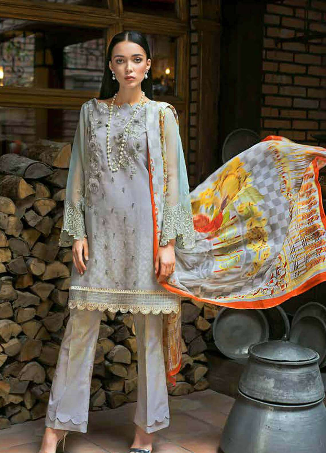 3876710011 Gul Ahmed Embroidered Organza Unstitched 3 Piece Suit GA19FB PS-11 Golden  Blues - Formal