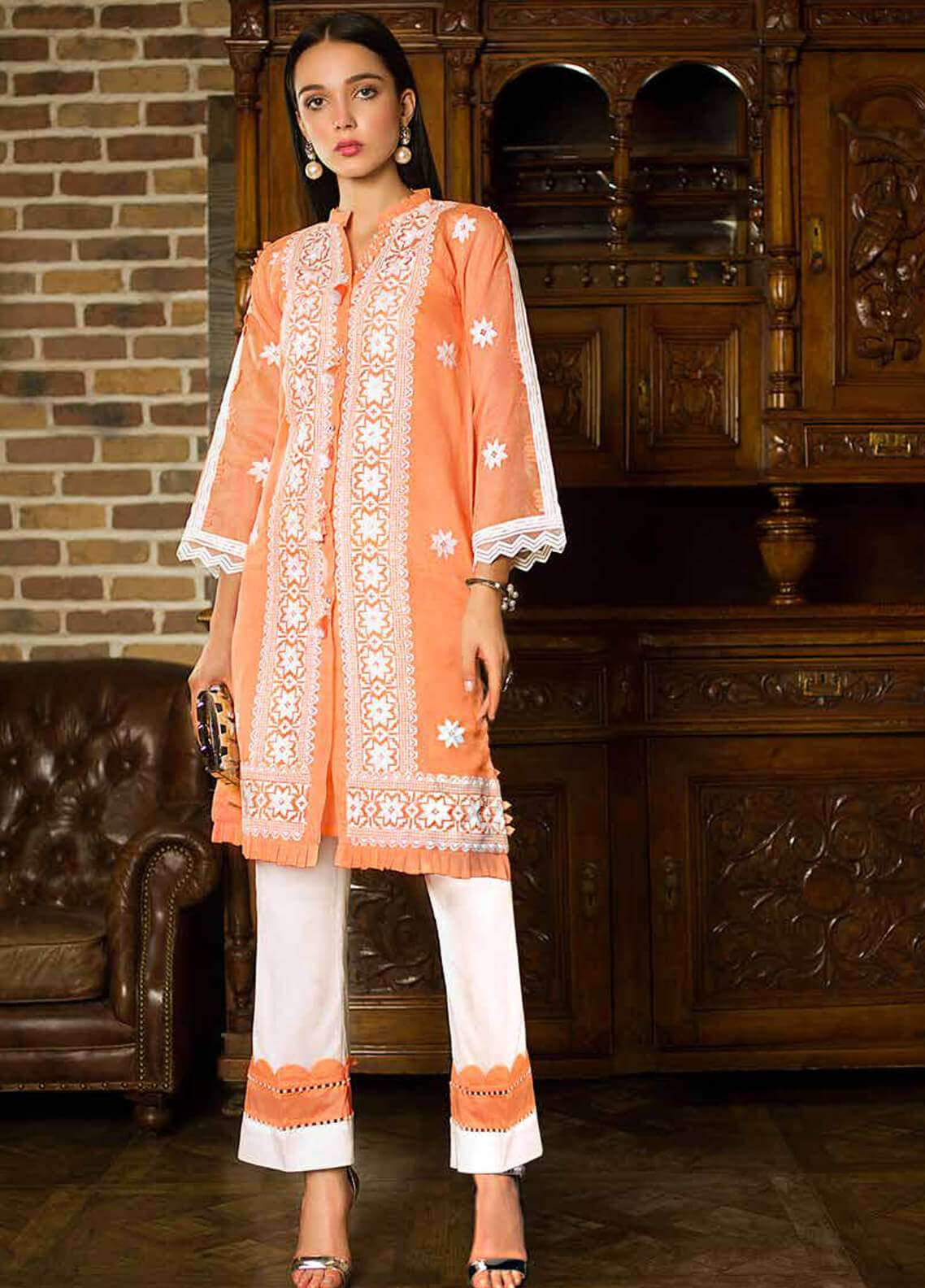 Gul Ahmed Embroidered Cotton Unstitched 2 Piece Suit GA19FB PST-01 Zesty Peach - Formal Collection