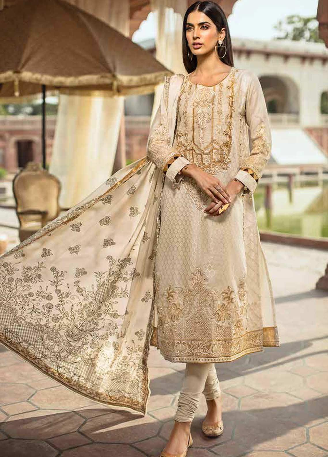 Gul Ahmed Embroidered Jacquard Unstitched 3 Piece Suit GAG19F EA-59 - Festive Collection
