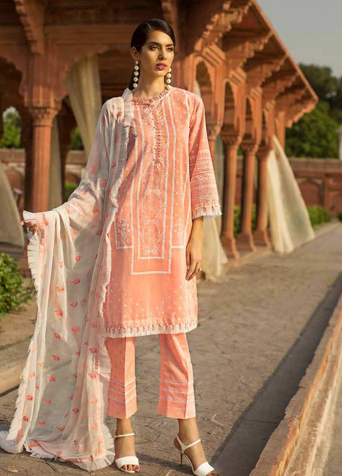 Gul Ahmed Embroidered Chiffon Unstitched 3 Piece Suit GAG19F EA-66 - Festive Collection