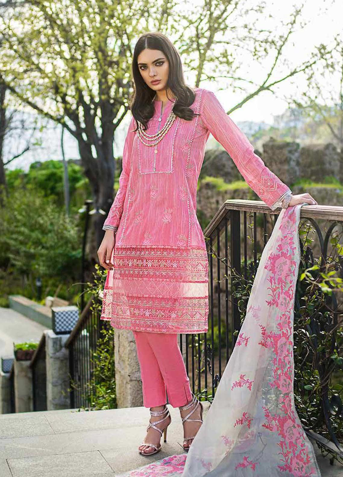 Gul Ahmed Embroidered Lawn Unstitched 3 Piece Suit GAG19F EA-67 - Festive Collection
