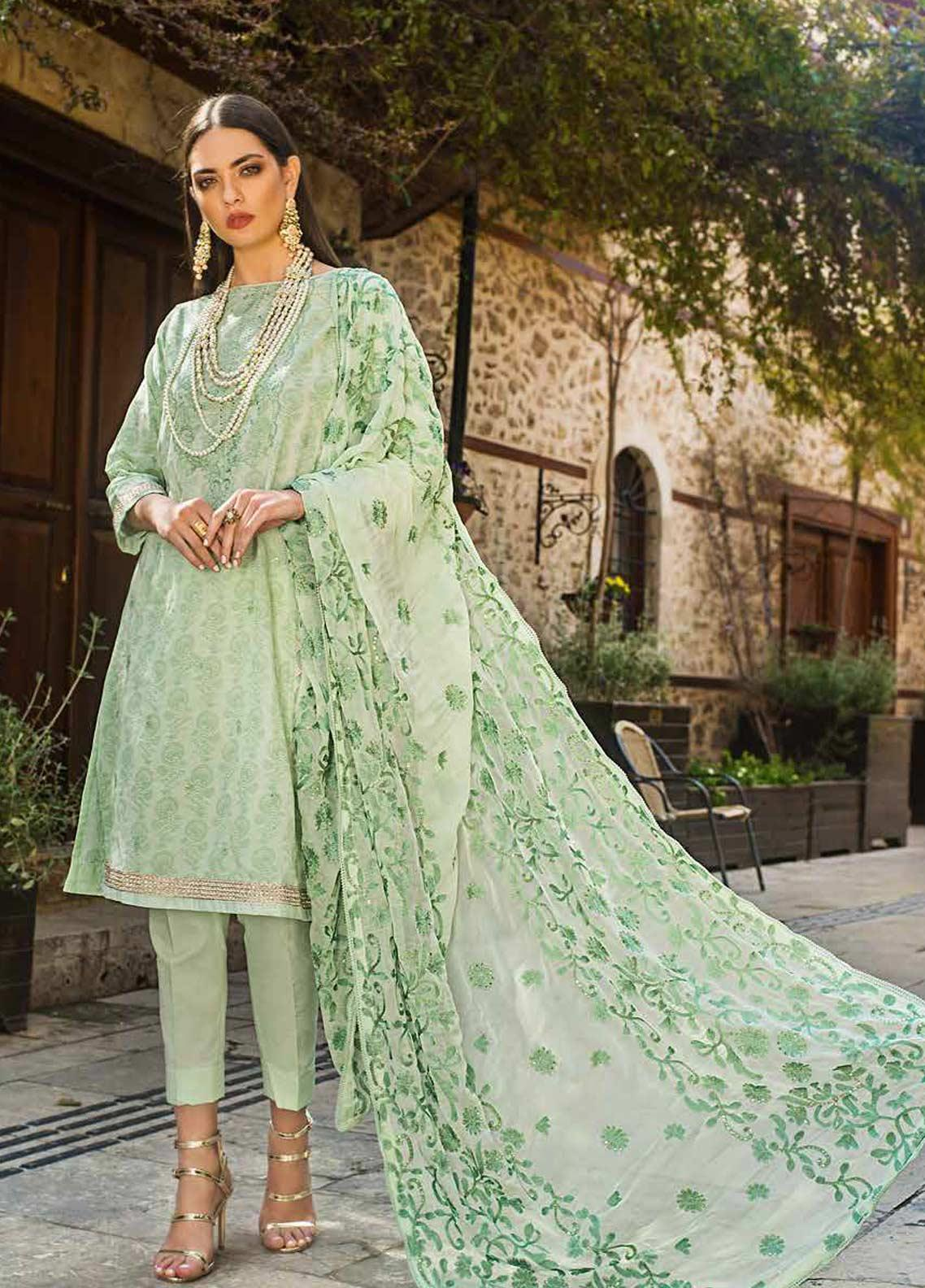 Gul Ahmed Embroidered Lawn Unstitched 3 Piece Suit GAG19F EA-69 - Festive Collection