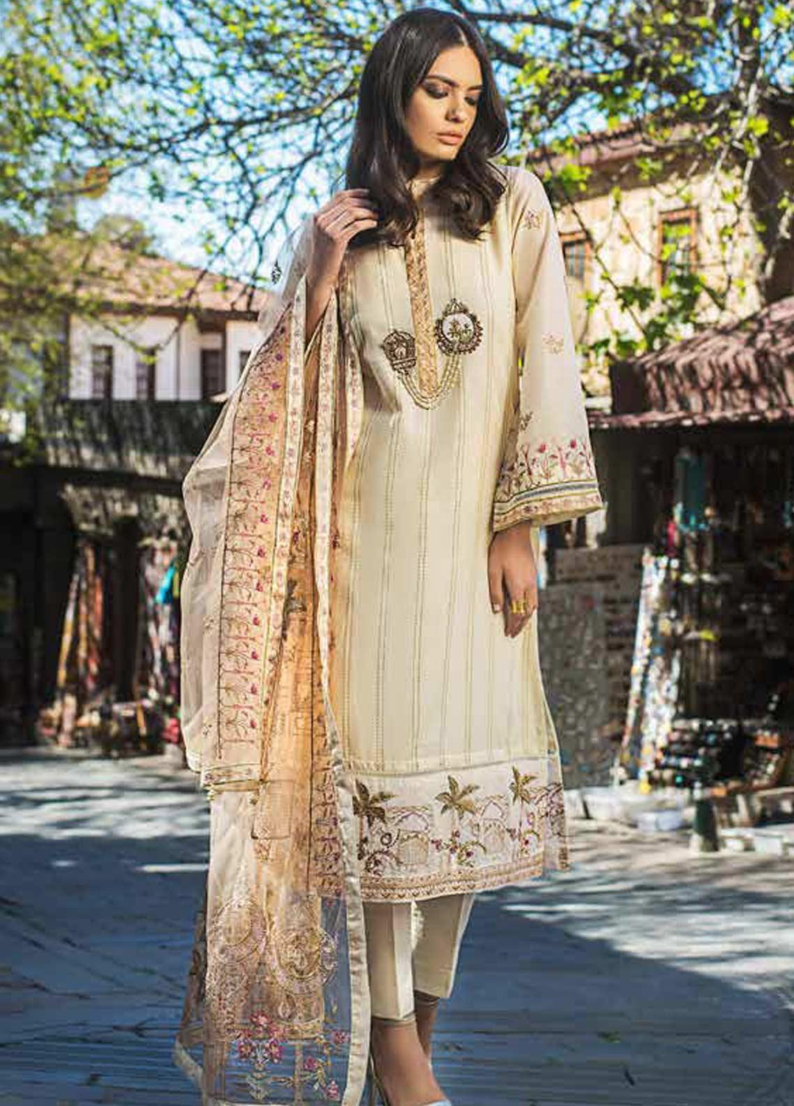 Gul Ahmed Embroidered Lawn Unstitched 3 Piece Suit GAG19F EA-72 - Festive Collection