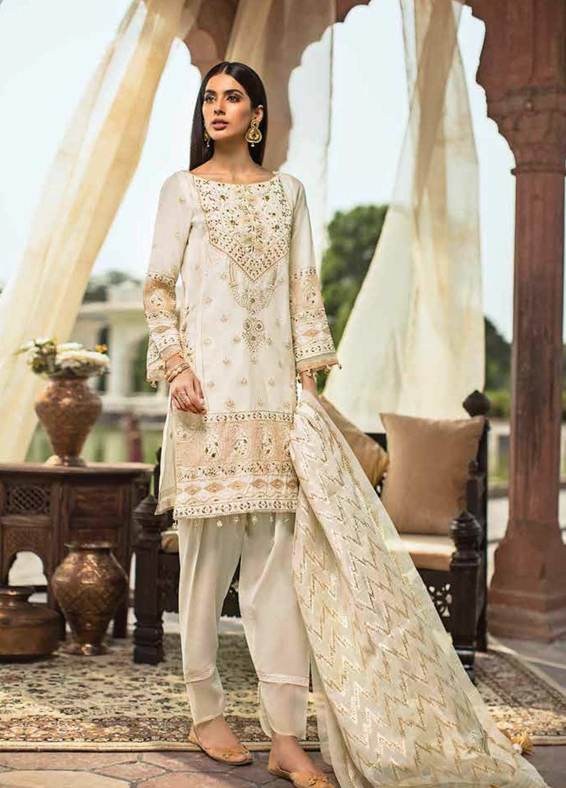 Gul Ahmed Embroidered Jacquard Unstitched 3 Piece Suit GAG19F EA-76 - Festive Collection