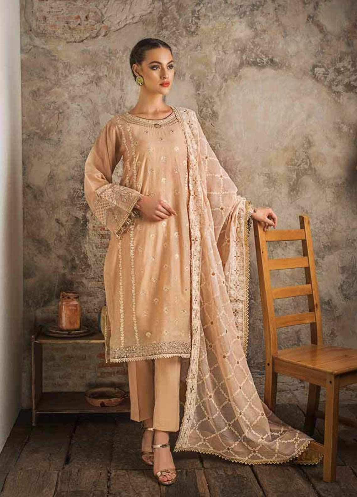 Gul Ahmed Embroidered Zari Net Unstitched 3 Piece Suit GAG19F EA-79 - Festive Collection