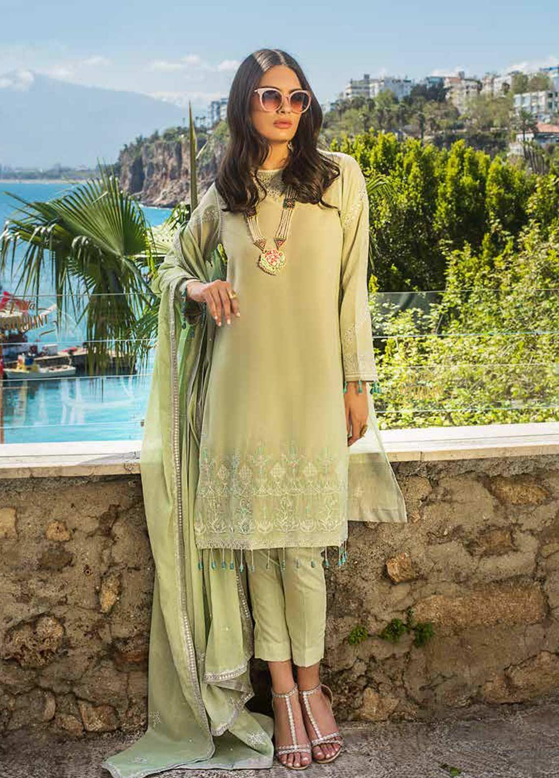 Gul Ahmed Embroidered Lawn Unstitched 3 Piece Suit GAG19F EA-80 - Festive Collection