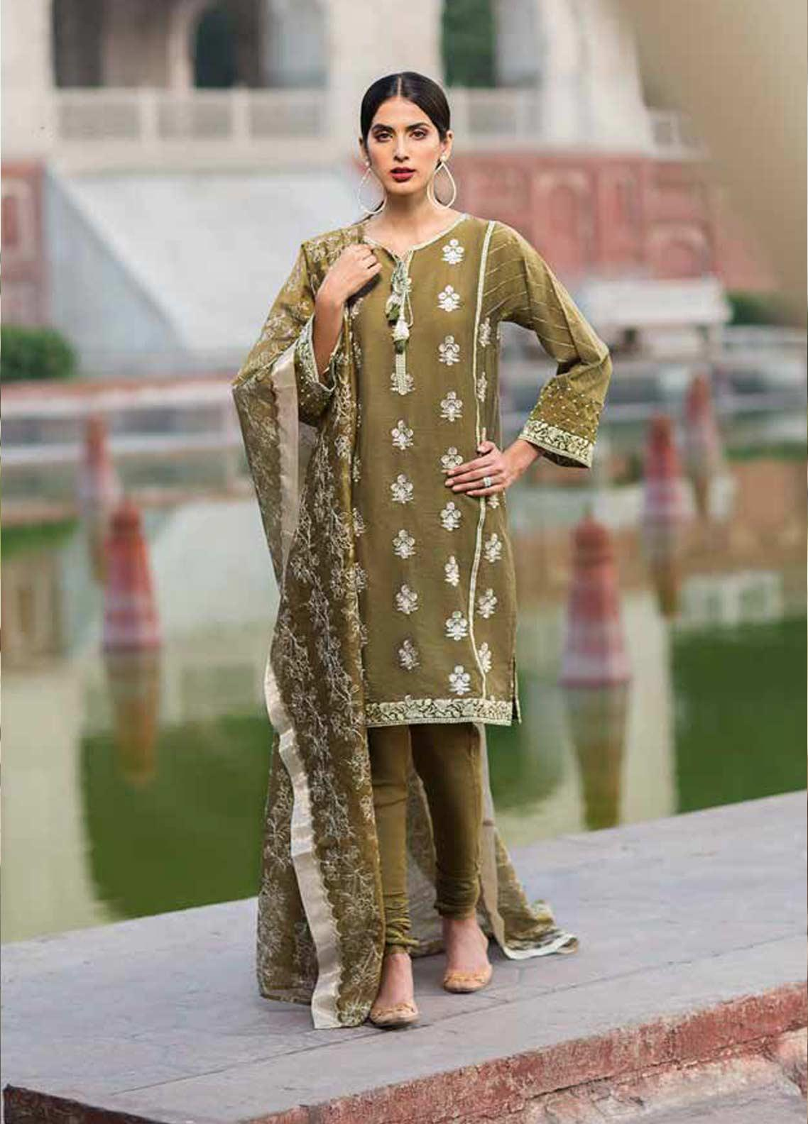Gul Ahmed Embroidered Zari Net Unstitched 3 Piece Suit GAG19F EA-83 - Festive Collection