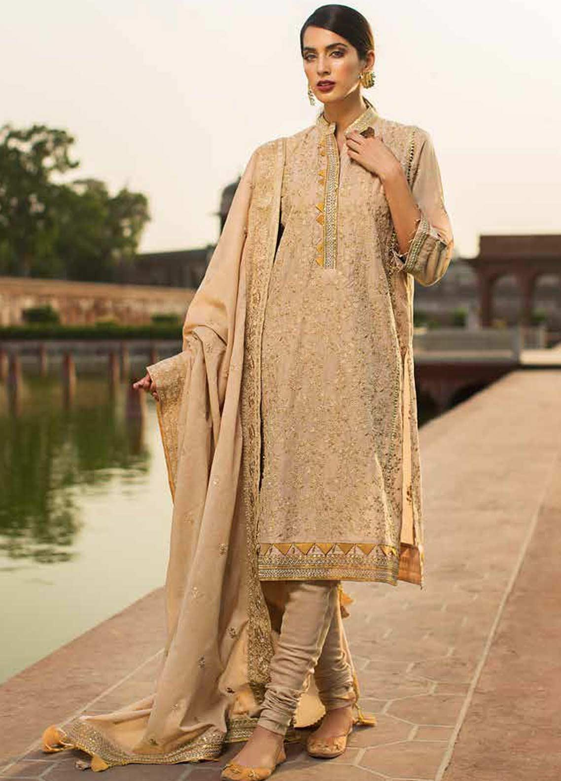 Gul Ahmed Embroidered Zari Net Unstitched 3 Piece Suit GAG19F EA-85 - Festive Collection