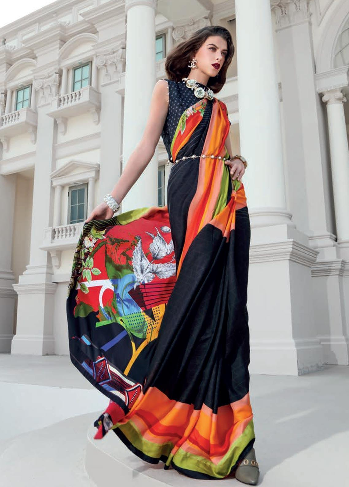 Gul Ahmed Printed Charmeuse Silk Unstitched Saree GA19DL DSR 01 Royal Damask - Winter Collection