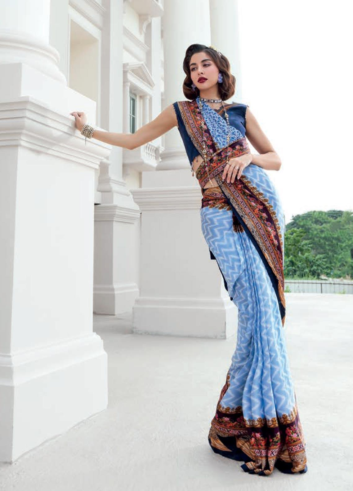 Gul Ahmed Printed Charmeuse Silk Unstitched Saree GA19DL DSR 02 Floral Verve - Winter Collection