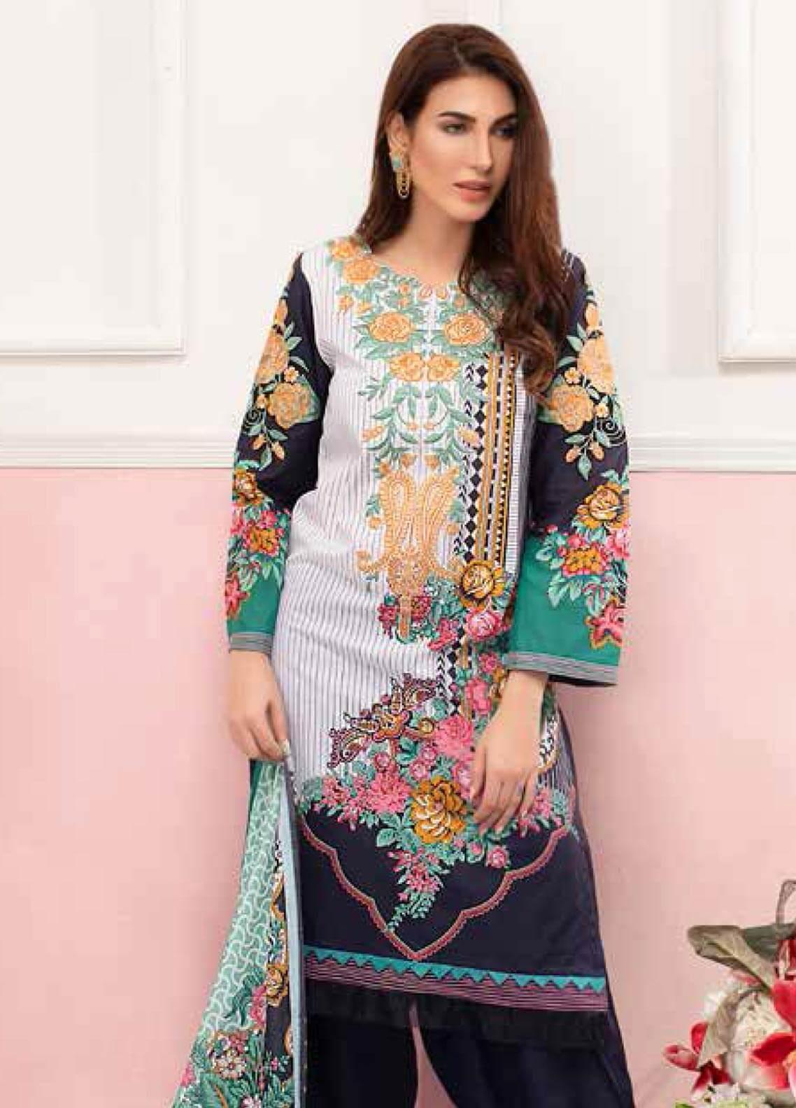 Gul Ahmed Embroidered Lawn Unstitched 3 Piece Suit GAM19-L2 CL-608B - Mid Summer Collection